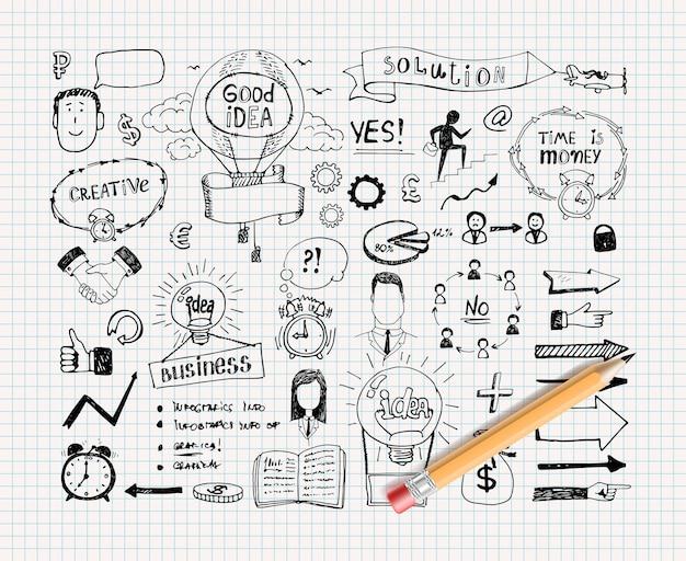 Doodles di idea di affari Vettore gratuito