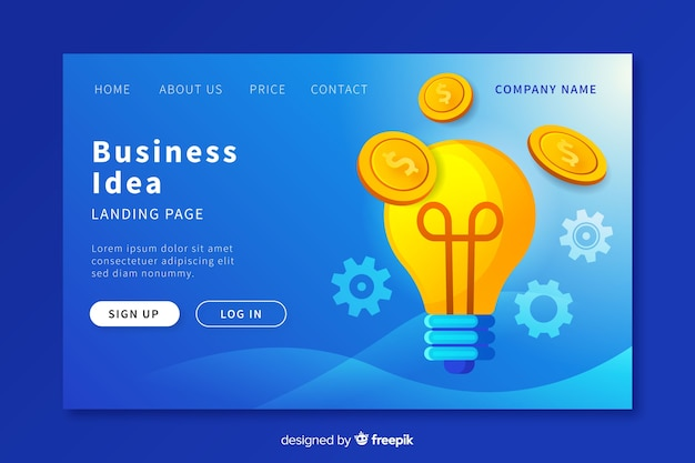 Business idea landing page template Free Vector