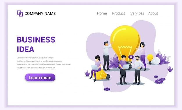 Business idea landing page. Premium Vector