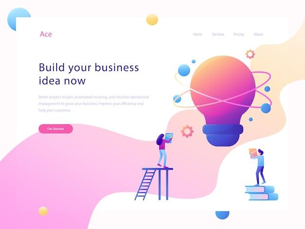 Business idea website flat illustration Premium Vector