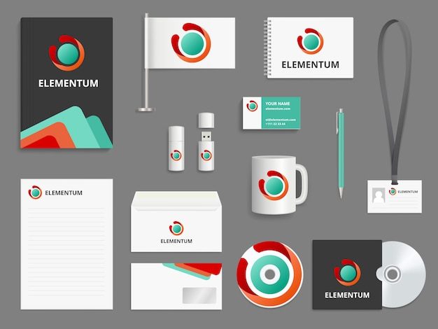 Business identity. branding realistic  mockup folder envelope cover for cd blank business cards check boxes usb pen Premium Vector