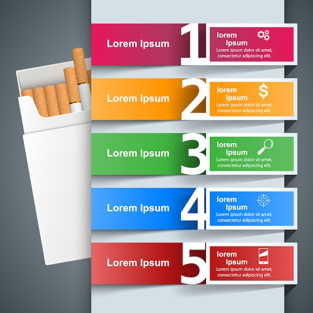 Business illustration of a cigarette and harm Premium Vector