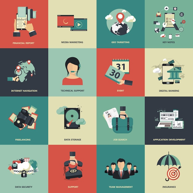 Business illustration collection Free Vector