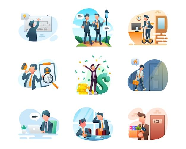Business illustration collection Premium Vector