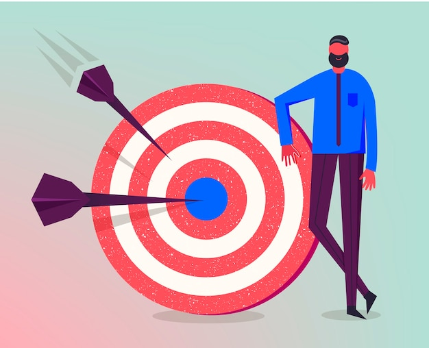 Business illustration, stylized character. making goals, successful business strategy, marketing concept. man standing next to target Premium Vector