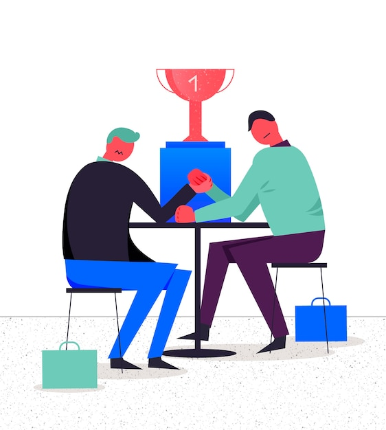 Business illustration, stylized characters. competition between two businessmen, arm wrestling, fighting for leadership Premium Vector