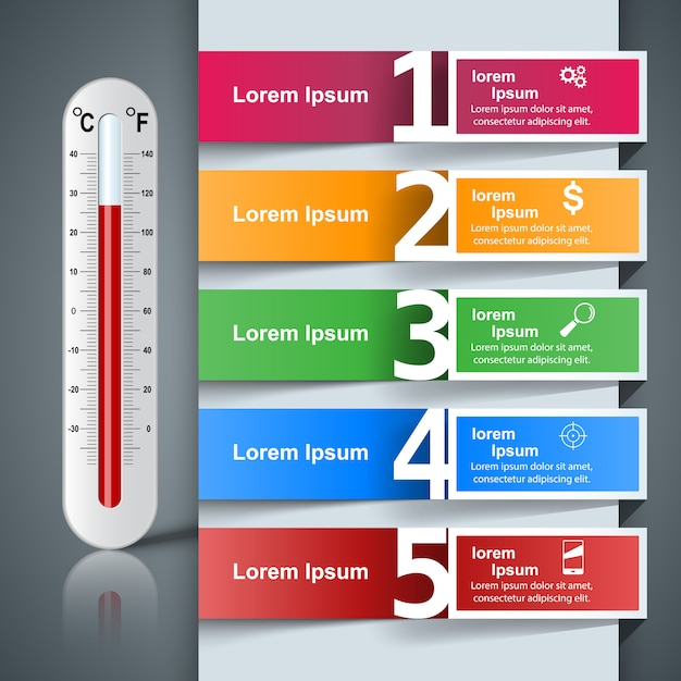 Business illustration of a thermometer Premium Vector
