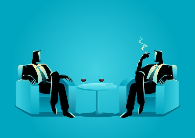 Business illustration of two businessmen sitting on sofa Premium Vector