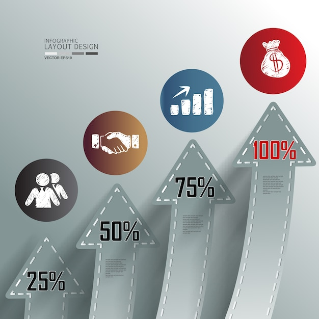 Business info graphic with step and information number Premium Vector