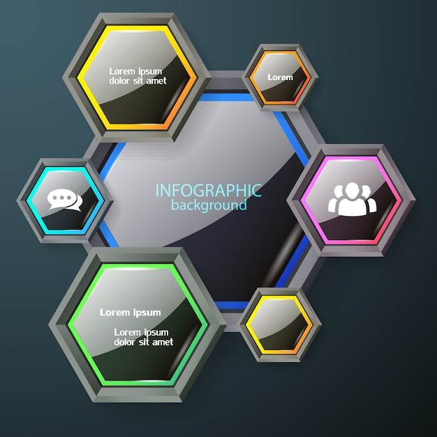 Business infographic chart concept with dark glossy hexagons with colorful edging white text and icons Free Vector