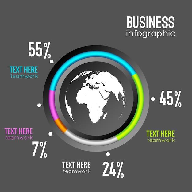 Диаграмма диаграммы бизнес инфографики с процентом круга и значком земного шара Бесплатные векторы