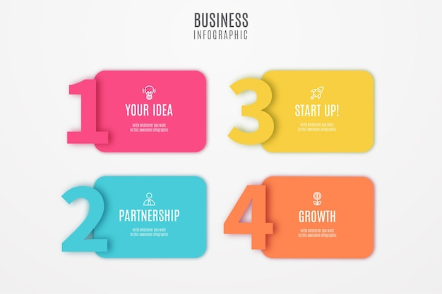 Business infographic colorful steps Free Vector