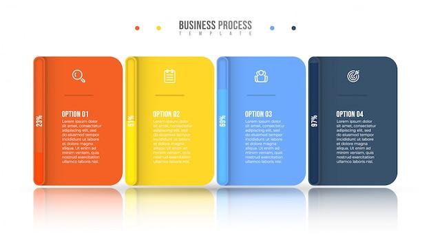 Бизнес инфографики дизайн и маркетинг иконки. прогресс бар концепция с 4 вариантами или шагами. Premium векторы