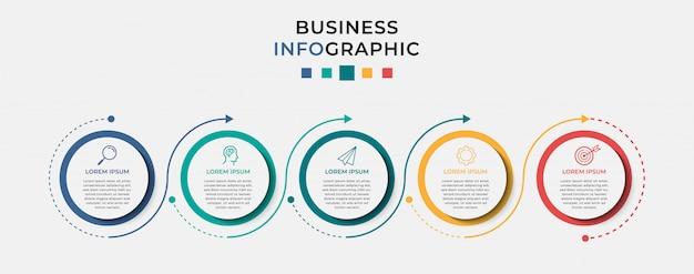 Бизнес инфографики дизайн шаблона 5 вариантов или шагов. Premium векторы