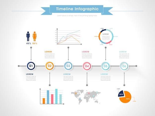 Business infographic design with colorful chart elements Premium Vector