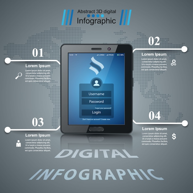 Business infographic. digital tablet icon Premium Vector