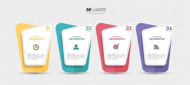 Бизнес инфографики элемент с 4 вариантами. Premium векторы