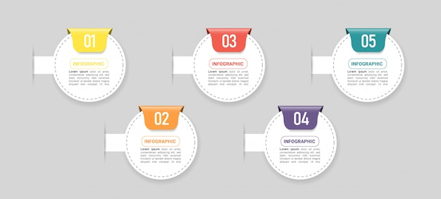 Business infographic element with 5 options. Premium Vector
