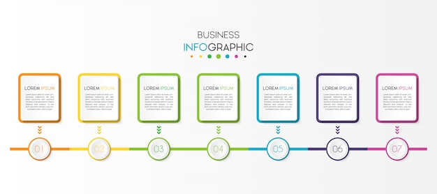 Business infographic element with 7 options or steps Premium Vector