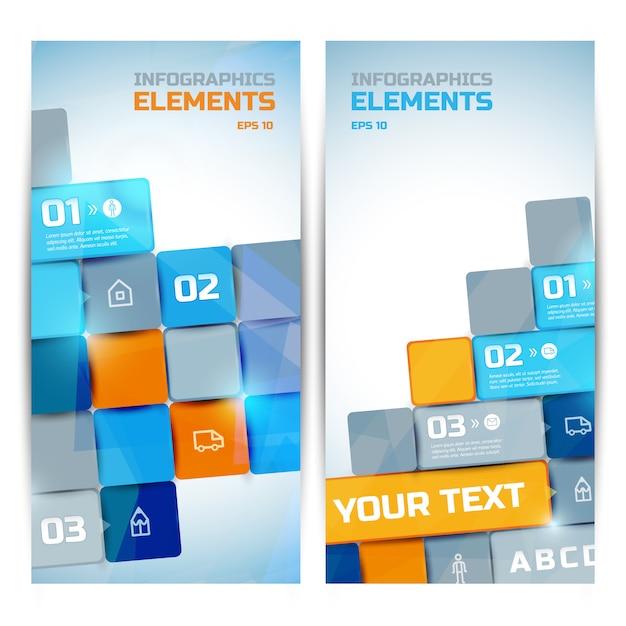 カラフルな明るい正方形のテキストを持つ3つのステップオプションアイコンビジネスインフォグラフィック要素垂直バナー 無料ベクター
