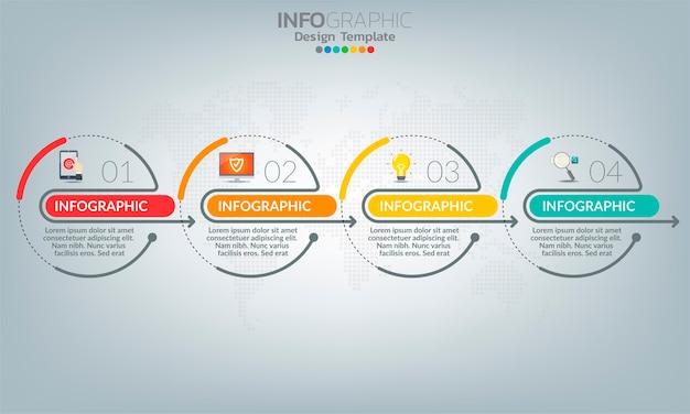 4 가지 옵션 또는 단계가있는 비즈니스 인포 그래픽 요소. 프리미엄 벡터