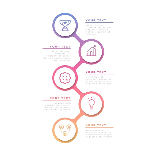 Business infographic in gradient Free Vector