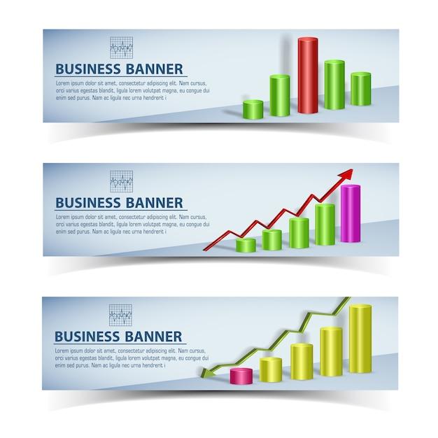 Insegne orizzontali infografiche di affari con grafico grafico colorato e frecce isolate Vettore gratuito