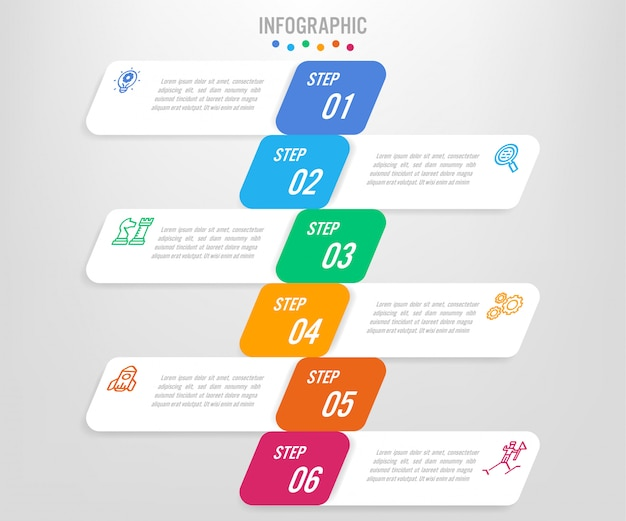 Business infographic labels template with options Premium Vector
