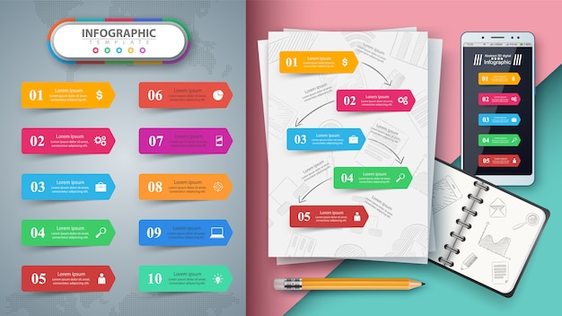 Business infographic. mockup for your idea. Premium Vector