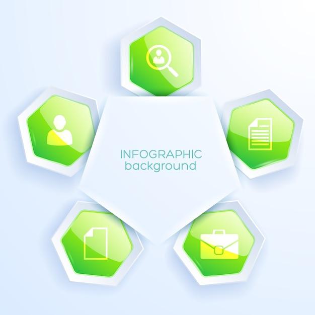 アイコンと5つの緑の六角形のテーブルとビジネスインフォグラフィック紙の概念 無料ベクター