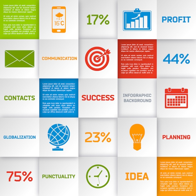 Business infographic squares Free Vector