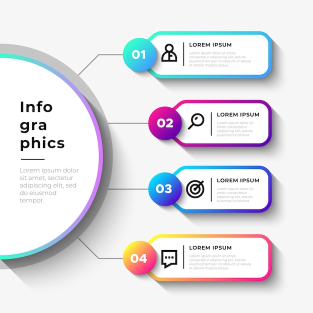 Business infographic steps with big semicircle Free Vector