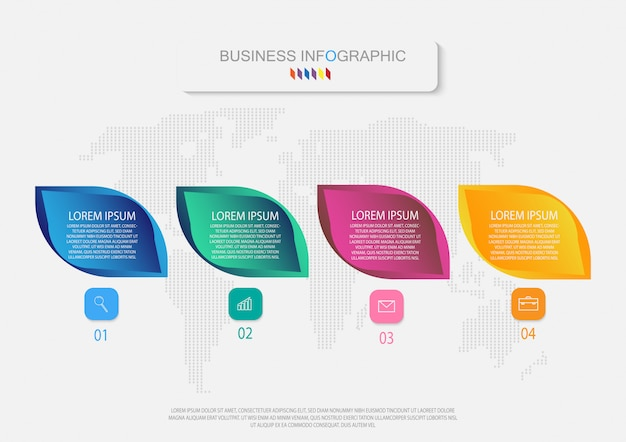 Business infographic template. 4 options or steps. vector info graphic. Premium Vector