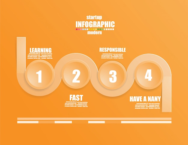 Business infographic template the concept the stair steps. step up on orange color. Premium Vector