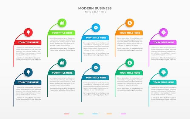 10のオプションまたは手順を備えたビジネスインフォグラフィックテンプレートデザイン Premiumベクター