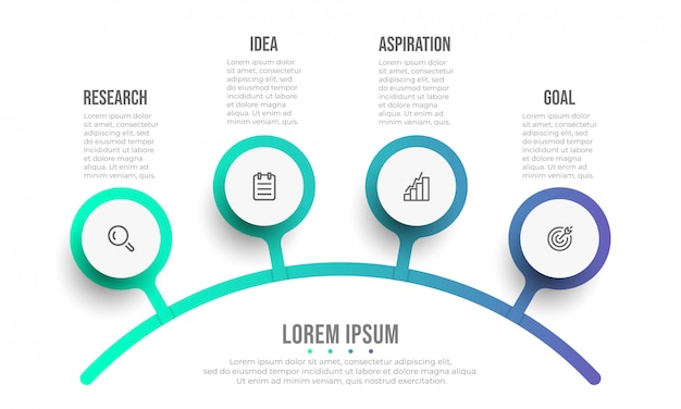비즈니스 Infographic 템플릿입니다. 아이콘과 4 가지 옵션 또는 단계가있는 다이어그램 디자인. 프리미엄 벡터