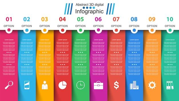 Business infographic template. ten items. Premium Vector