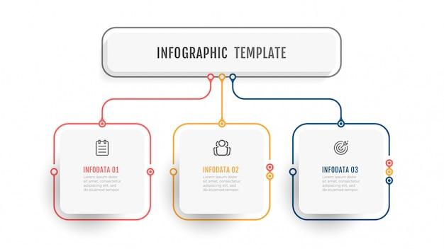 Бизнес инфографики шаблон. тонкая линия дизайн этикетки с иконкой и 3 вариантами, этапами или процессами. Premium векторы