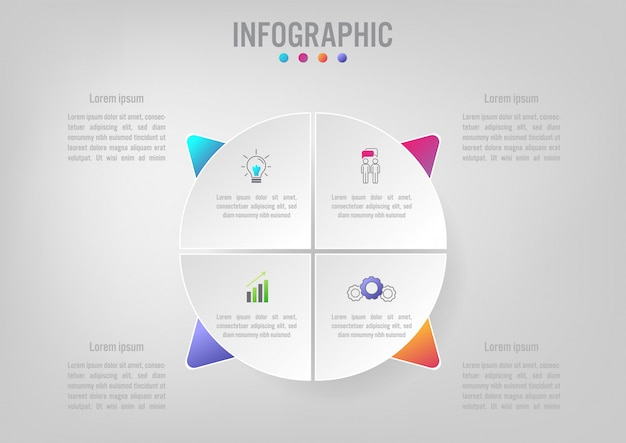 Business infographic template with 5 options Premium Vector