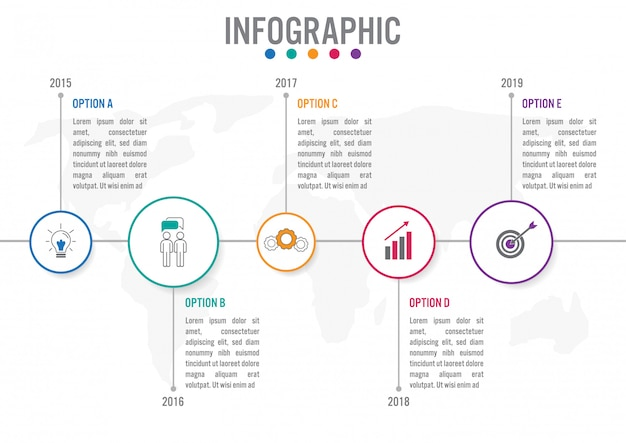 Business infographic template with circular Premium Vector