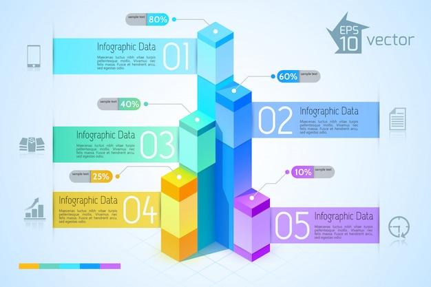 カラフルな3 d正方形グラフビジネスインフォグラフィックテンプレート5つのオプションと青い図のアイコン 無料ベクター