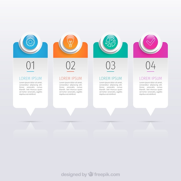 Business infographic template with colorful shapes Free Vector