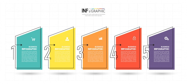 Business infographic template with five steps Premium Vector