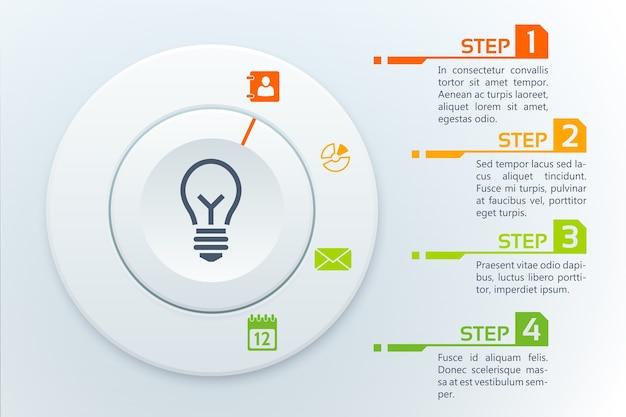 4 단계 비즈니스 인포 그래픽 템플릿 무료 벡터