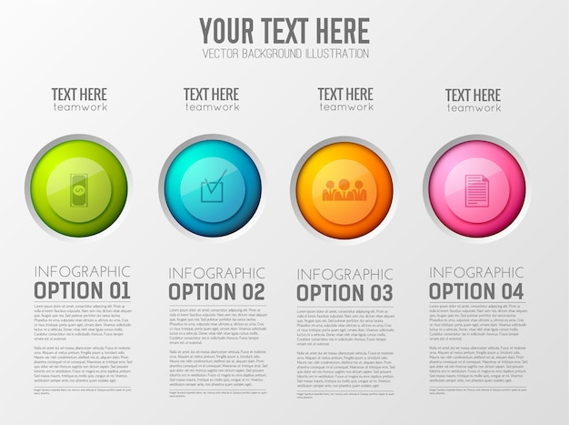 Business infographic template with four steps Free Vector
