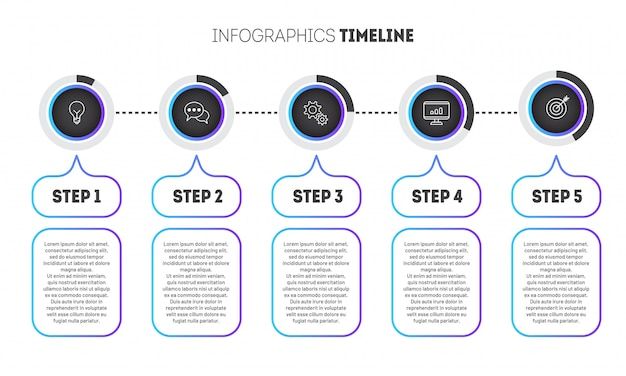 Business infographic template with gradient circles. Premium Vector