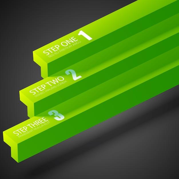 Шаблон бизнес-инфографики с зелеными прямыми полосами и тремя шагами Бесплатные векторы