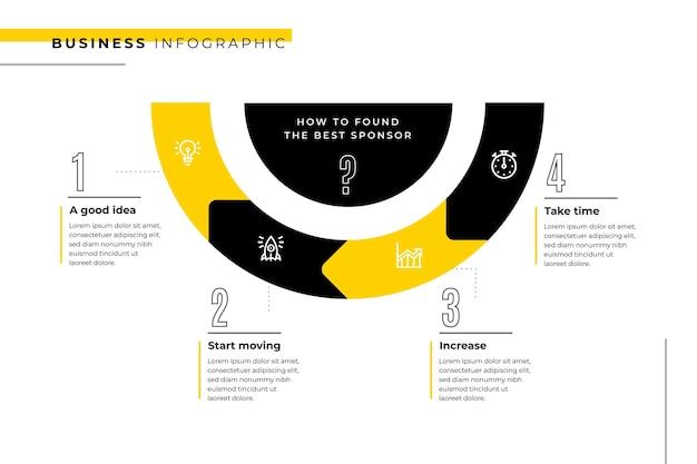 Modello di business infografica con semicerchio Vettore gratuito