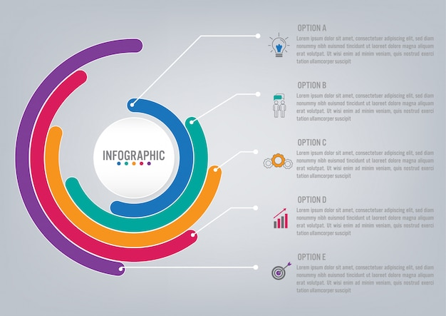 Business infographic template with options Premium Vector