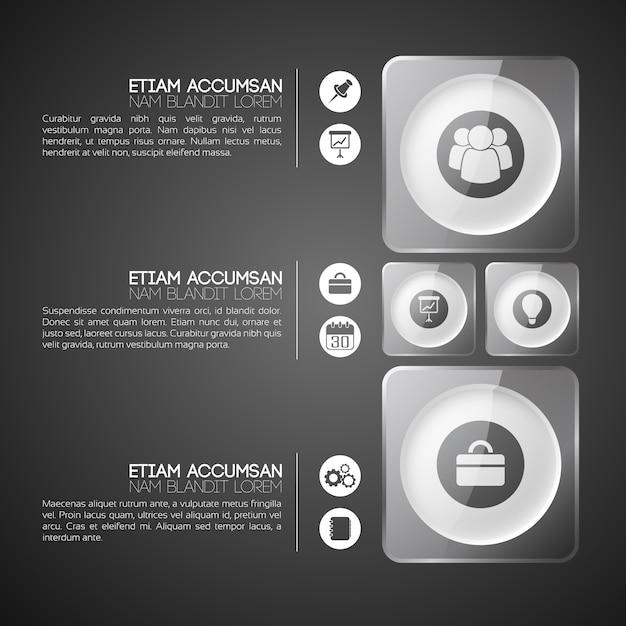 Modello di business infografica con tre passaggi Vettore gratuito